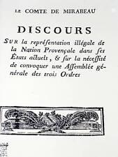 LE COMTE DE MIRABEAU Discours 30 Janvier 1789 PROVENCE