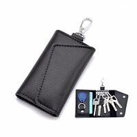 Men Women Leather Key Chain Pouch Case Wallet Coin Purse Card Holder Black/Brown