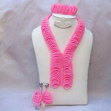 New Abuja Connection Pink Elongated Beads Bridal Wedding Jewelry Necklace Set