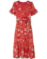Vince Camuto Ladies Wildflower Tiered Ruffle Chiffon Dress Size 4 Coral Sunset