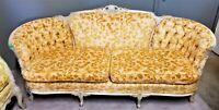 EUC! Antique French Louis XV Rococo Hand Carved Burnout Velvet Sofa