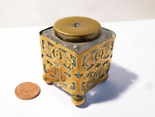 Antique Glass Inkwell Ink Pot in Openwork Brass Holder with Daffodils Engraved
