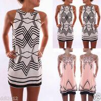 Womens Summer Casual Sleeveless Evening Party Beach Dress Short Mini Dress 8-16