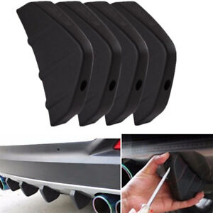 4Pcs Matte Black Car Rear Bumper Diffuser Scratch Protector Moulding Trim Addon