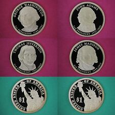 Set of 4 2007-S Proof Presidential Dollar Deep Cameo Flat Rate Shipping