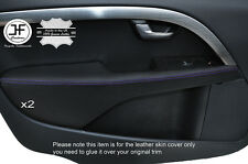 PURPLE STITCH 2X FRONT DOOR ARMREST LEATHER COVERS FITS VOLVO V70 2007-2014