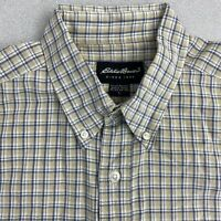 Eddie Bauer Button Up Shirt Mens L Green Blue Short Sleeve Cotton Check Shirt