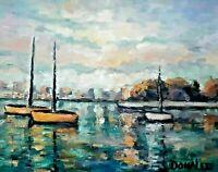 Oil Painting Sailboats Seascape Boats Harbor Nautical Impressionistic USA Artist
