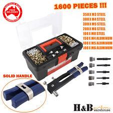 800 Pcs Rivnut Rivet Nut Nuts Gun M3 to M8 RIVNUTS Nutsert Tool Kit Set T0285