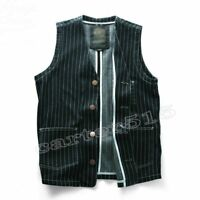 HOT Retro Men's British Style Casual Stripe Pockets Denim Vests Jeans Waistcoat