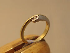 14ct 14K YELLOW WHITE 2 TONE GOLD DIAMOND SOLITAIRE ENGAGEMENT  RING SIZE M N