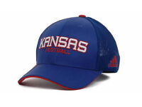 Kansas Jayhawks NCAA Adidas Player Mesh Flexfit Hat Flex Cap Size S/M
