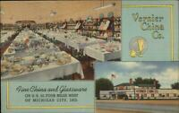 Store Interior Vernier China Co Michigan City IN Linen Postcard