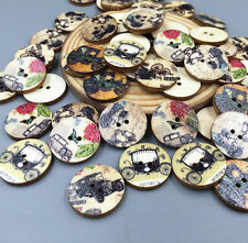 50pcs  Retro Vintage car Wooden Buttons 2 Holes Sewing Scrapbooking  20mm