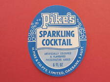 Pikes Sparkling Cocktail Drink Label H Pike Co Oakbank SA