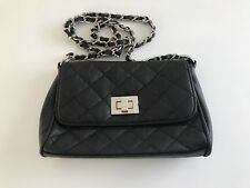 Miss Shop Black Quilted Clutch Purse/ Handbag with Twisted Chain Shoulder Strap