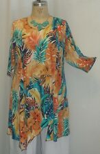 Coco & Juan Lagenlook Plus Size Tunic Turquoise Leaf Asymmetric Top 3X/4X B60""