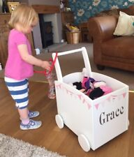 Toy Box Kids Walker Push Cart Pink Bunting, Incs Personalisation
