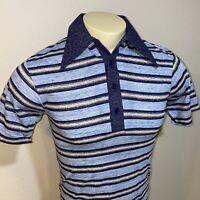 NOS Vtg 60s 70s SEARS Polo Shirt Striped Disco Mid Century Big Collar MENS SMALL