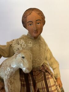 Rare Vintage French Terracotta Dressed. Santon de Provence. Signed ASIS Lady