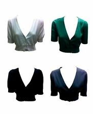 Cotton Short Sleeve V Neck Cropped Women's Jumpers & Cardigans
