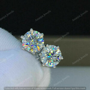 14K White Gold Finish 4Ct Round Cut Moissanite Screw Back Solitaire Stud Earring