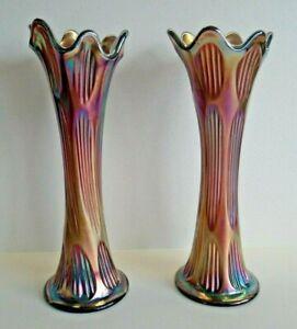 "a pair of antique tall 10.5"" FENTON amethyst DIAMOND & RIB carnival glass vases"