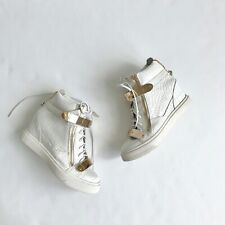 giuseppe zanotti White Scale Leather Wedge High Top Gold  Sneaker Shoes 7 US 37