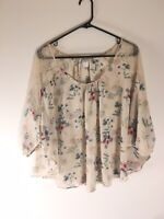 LC Lauren Conrad Size XS Women's Sheer Floral Pullover Tunic Blouse Top