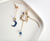 Blue Moon Stars Cat Asymmetric Pearls Drop Earrings, Gold, Swarovski Element