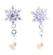 Tono Plata Cristal Copo de nieve Aretes con Colgante Perla