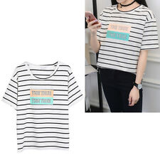 THE TRUE Letter Print Striped T-shirt Tee Top Short Sleeve Women Girl Casual