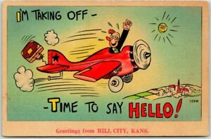 """1940s HILL CITY, Kansas Greetings Postcard """"Time to Say Hello"""" Airplane LINEN"""