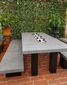 2.1m Concrete Outdoor Garden Patio Contemporary Rectangle Table Bench Terrazzo