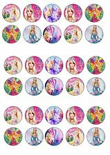 BARBIE commestibili wafer riso CARTA CUP CAKE TOPPER x30