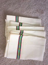 5 Vintage Unused Linen Kitchen Towels Stripe Edge Heavy French Fabric Lot Gr Red