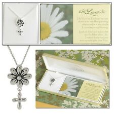 "'He Loves Me' Daisy Necklace, Silver Plated on 18"" Chain by Dicksons"