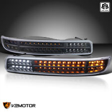 For 1999-2006 GMC Sierra 1500 2500 Black Bumper Lights+Sequential LED Signal