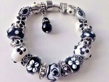 European Style Charm Bracelet with Murano Glass Beads, Snap Clasp+Stopper