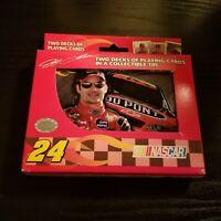JEFF GORDON Two Decks Of Bicycle Playing Cards / Collectible Tin NASCAR Racing