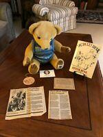 """House of Nisbet 18"""" Ltd Ed Golden Bully Bear with COA & Signed Peter Bull Book"""