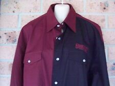 MENS TWO TONE LS WESTERN STYLE COTTON SHIRT MAROON/BLACK SIZES LARGE - 4XL