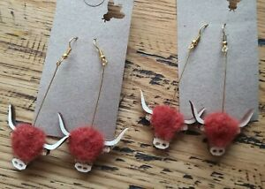 Unique Highland Cow Earrings Ginger  Needle felted Highland coo jewellery