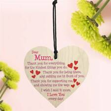 Mum I Love You Everyday Wooden Hanging Heart Mothers' Day Gift Warm Mums Sign