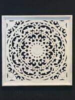 60cm hand carved wood wall art, floral / panel, Boho/ mandela/ coast style