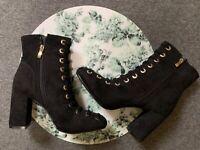 New! Lovely women's shoes size 5 6 black boots high heels EU 38 39 autumn winter