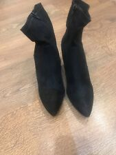 Ladies Black Ankle Block Heel Faux Suede Zip Boots Size 6