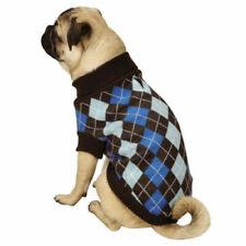 Zack & Zoey - Dog Puppy Sweater - Argyle Prep - Blue Plaid - XS