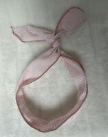 Bandeau foulard cheveux rigide cordon maléable carreaux vichy bleus et blancs