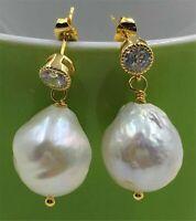 13-14MM HUGE White Baroque Pearl Earrings 18K hook Gift Wedding Drop Fashion